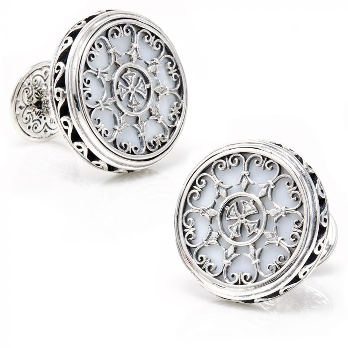 Groomsmen gift Father gift Valentine/'s Gift For Him Mens cufflinks with mother of pearl and sterling silver -Groom Wedding Cufflinks