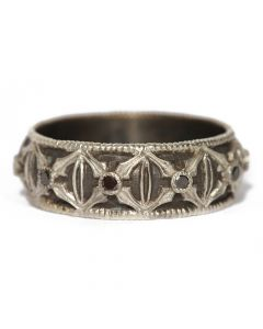 """Sterling Silver Thin """"X"""" with Black Diamonds Ring"""