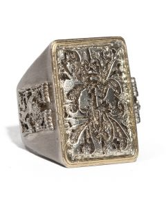 Large Carved Tapestry Ring with Lion Details
