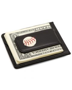 New York Mets Game Used Baseball Money Clip Wallet