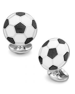 Black & White Sterling Silver Soccer Cufflinks
