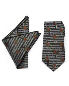 Music Holly Note Tie Pocket Square Gift Set
