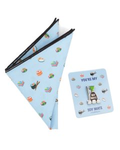 Sushi Soy Sauce Lapel Pin and Pocket Square Gift Set