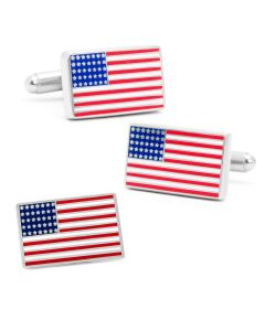 American Flag Cufflinks and Lapel Pin Gift Set