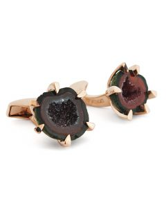 Red Geode Rose Gold Plated Sterling Silver Cufflinks