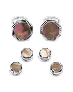 Gray Mother of Pearl Octagon with Antique Border Stud Set