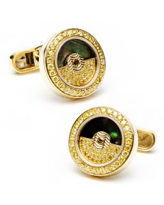 18K Gold & Canary Diamonds Rotor Cufflinks