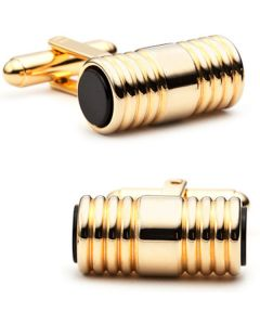 Gold and Onyx Ribbed Tube Cufflinks