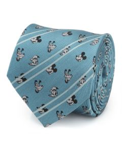 Mickey and Friends Aqua Striped Men's Tie