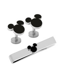 Mickey Mouse Silhouette Cufflinks and Tie Bar Gift Set