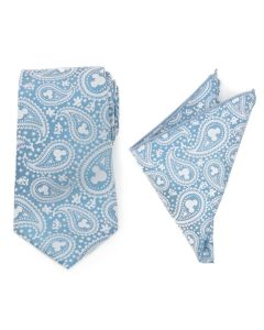 Mickey Mouse Teal Paisley Necktie and Pocket Square Gift Set