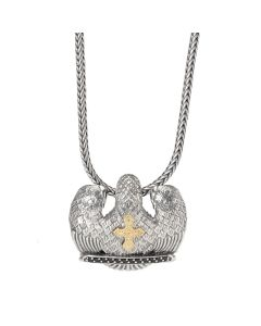Sterling Silver & 18K Gold Pendant with Spinels