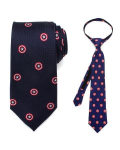 Father and Son Captain America Zipper Necktie Gift Set