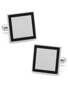 Stainless Steel Square Engravable Framed Cufflinks