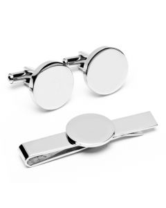 Engravable Round Infinity Cufflinks and Tie Bar Gift Set