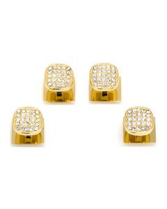 Gold Stainless Steel White Pave Crystal Studs