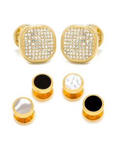 Mixed Gold White Pave Crystal Stud Set