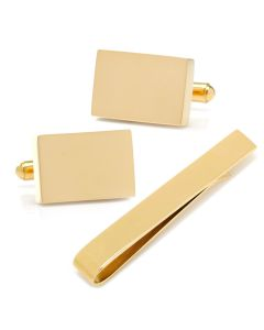 Engravable Rectangle Gold Cufflinks and Tie Bar Gift Set