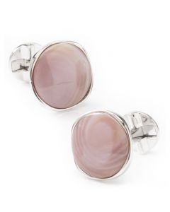 Sterling Silver Classic Formal Pink Mother of Pearl Cufflink