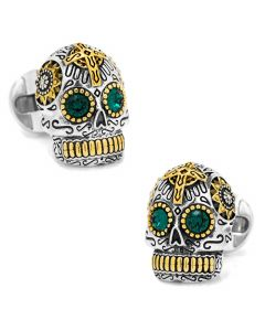 Sterling Silver and Gold Day of the Dead Skull Cufflinks