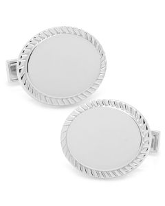 Sterling Silver Rope Border Oval Engravable Cufflinks