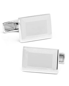 Sterling Silver Etched Frame Rectangle Engravable Cufflinks