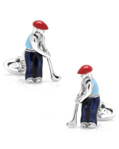 Sterling Silver Swinging Golfer Cufflinks