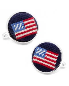 Navy American Flag Needlepoint Cufflinks