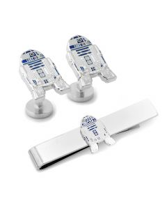 R2D2 Transparent Enamel Cufflinks and Tie Bar Gift Set
