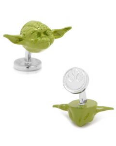 3D Green Yoda Head Cufflinks