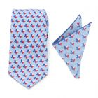 Texas State Blue Necktie and Pocket Square Gift Set